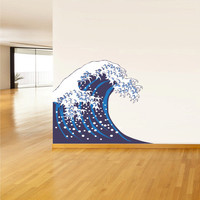 Full Color Wall Decal Mural Sticker Art Asian Japan Japanese Wave Ocean Sea (col502)