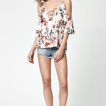 LA Hearts Lace-Up Cold Shoulder Short Sleeve Top at PacSun.com