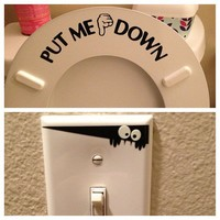 PUT ME DOWN Decal Bathroom Toilet Seat Vinyl Sticker Sign Reminder for Him (free glowindark switchplate decal) stickerciti Brand (1, DOWN)