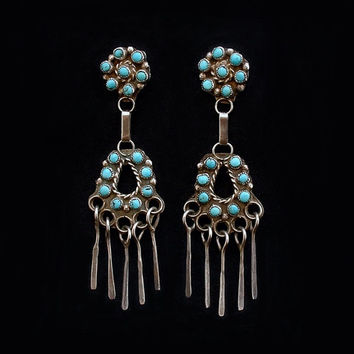Vintage Native American Zuni Chandelier Turquoise Earrings Pe