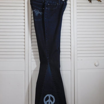 Womens Bell Bottom Jeans Upcycled Clothing Hippie Denim Clothes Size 8 Ditty Jeans Hidden Stash Pocket Peace Sign Patched Pants High Waist