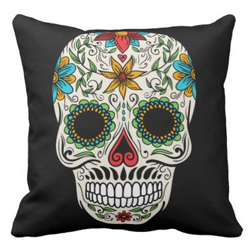 Day Dead Sugar Skull Throw Pillow