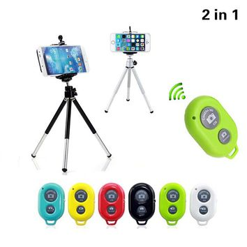 2in1 Universal Mini 360 Rotating Phone Holder Stand Mobile Tripod Mount Bracket with Bluetooth Remote Control For iPhone 5s 6s 7
