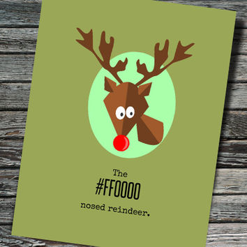 The #FF0000 Nosed Reindeer Nerdy Christmas / Holiday Card | Programmer, Web Developer, Professor, Teacher, Student, Rudolph, HTML, Hex Color