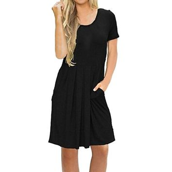 Pleated Short Sleeve Swing Dress With Pockets