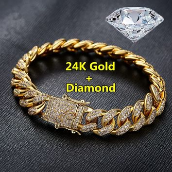 2018 Fashion Mens Womens Chain Hiphop Iced Out Curb Cuban Diamond 18K Gold / 24K Gold / 925 Silver Plated Bracelet Paved Clear R