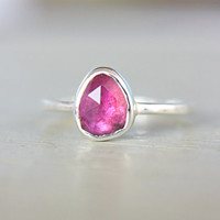 Pink Tourmaline Ring Sterling Silver Rose Cut Pink Tourmaline Engagement Ring Promise Ring Made in Your Size Silversmith