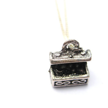 Treasure chest necklace gamer gift under 15 silver plated brass chain 3d charm