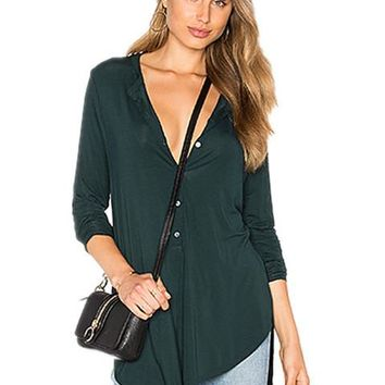 V Neck Tops Button Up Long Top Green Tunic Henley Shirt Shirttail Hem Blouse Sexy Fashion Long Sleeve Women Top 2016 New
