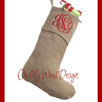 Personalized Burlap Christmas Stocking