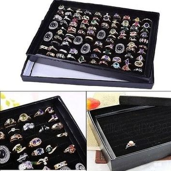 100 Slots Ring Storage Earring Ear Pin Display Box Jewelry Organizer Holder Case