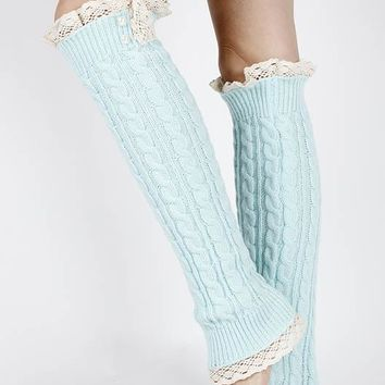 LEG WARMER LACE TOP AND BOTTOM OVER THE KNEE PEARL ACCENTED