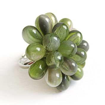 Moss Berry Cocktail Ring - Limited Edition Green statement ring, natural hues cluster ring, soft green expandable ring, great gift for her