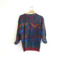 Vintage tribal sweater. Oversized sweater. Boho sweater. Southwestern pullover.
