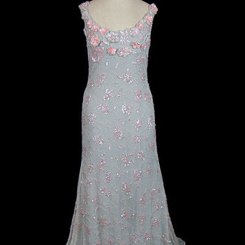 Vintage Victor Costa evening or wedding gown, beaded & sequined sleeveless pale gray net dress, open back - nearly backless, designer
