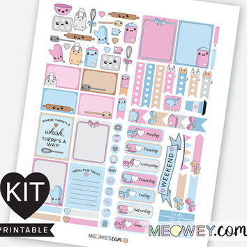 Bakery Kawaii Bunny Stickers Weekly Planner Kit Printables Erin Condren Cooking Chef Baking Digital Download Package Meowey Multicolor