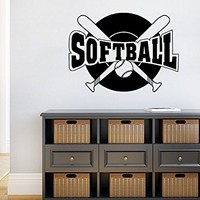 Softball Wall Decal Sport Wall Decals Vinyl Stickers Teens Nursery Baby Room Home Decor Art Bedroom Design Interior C376