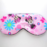 Minnie Mouse Sleep Mask, Pink, Girls Night Eye Mask, Ladies Women Teen Girl Small Child Nap Blindfold, Fleece Satin Cotton Flannel, Disney