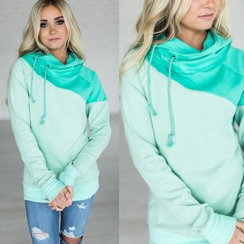 Green Patchwork Hoody Tops
