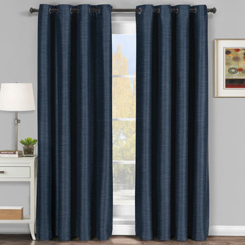 Navy Galleria Blackout Tonal Stripe Window Grommet Panel