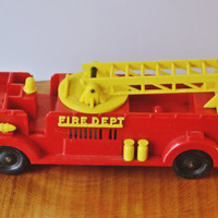 Reliable Fire Truck, Key Wind Fire Truck, Wind Up Toy, Vintage Fire Truck, Vintage Toy, Vintage Key Truck, Red Truck, Vintage Truck, Wind Up