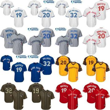 Youth Toronto Blue Jays 19 Jose Bautista 20 Josh Donaldson 32 Roy Halladay kids Baseball Jersey cool base stitched size S-XL