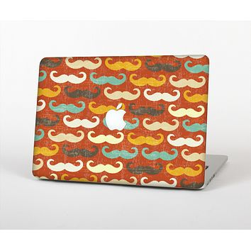 The Vintage Dark Red Mustache Pattern Skin for the Apple MacBook Air 13""