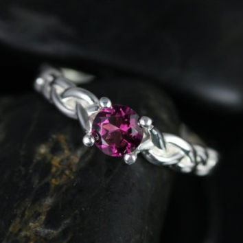Prudence Silver Round Garnet Braided Engagement Ring (Other metals and stone options available)