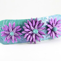 Jade and Plum Spring Barrette, Womens Barrettes, Unique Barrette, Flower, Hair Clip, Barrette Fine Hair, French Barrette, Hair Barrette Etsy