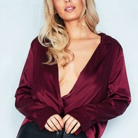 Olivia Wine Silk Wrap Blouse Missy Empire