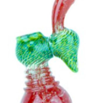 Nepal Glass - Sherlock Bubbler with Frit Mouth & Cane & Coil Spotted Bowl