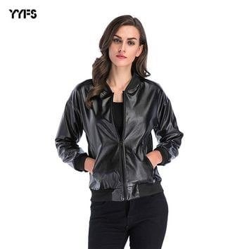 YYFS 2018 Women's Fashion Jacket Loose Stand-up Collar Zipper Pu Leather Coat Women Jacket