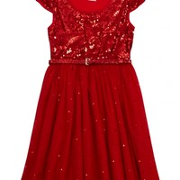 Sequin Party Dress With Belt | Girls Dresses Clothes | Shop Justice