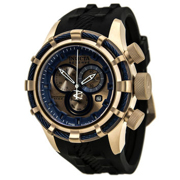 Invicta 15780 Men's Bolt Rose Gold Dial Black Rubber Strap Chronograph Dive Watch