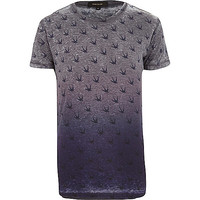 River Island MensNavy faded swallow print t-shirt