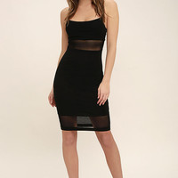 Something Between Us Black Bodycon Midi Dress