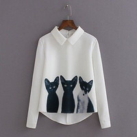 Three Cats Long Sleeve Casual Blouse