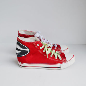 Vintage UGA Shoes Georgia High Top Sneakers Red White and Black Lace Up Canvas Sneakers University of Georgia Tennis Shoes