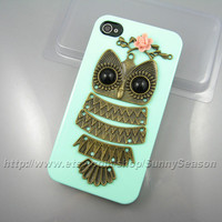 IPhone 4 case,Iphone 4s case,Cute Owl Resin Flower On The Mint Green iphone 4/4s Hard Case,owl on the branch