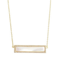 Mother of Pearl Gold Bar Necklace