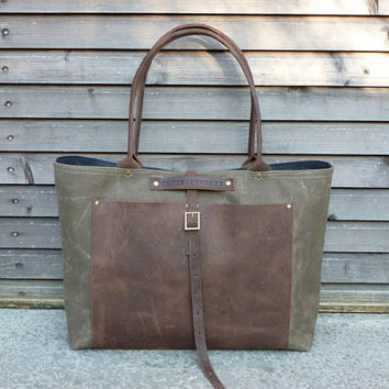 Waxed canvas tote bag/ carry all with waxed leather handles and waxed leather outside pocket COLLECTION UNISEX