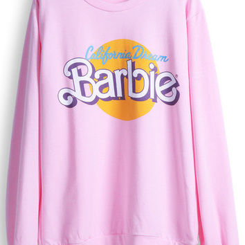 Barbie Pink Long Sleeve Print Casual Sweatshirt