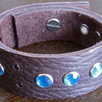 Leather Bracelet - Brown Leather Cuff with Blue Crystals.