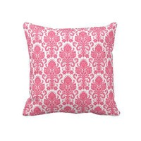 Hot Pink Girly Damask Pillows from Zazzle.com