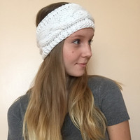 Knit Ear Warmer • White with Sparkles • Arcylic Yarn • Braided •