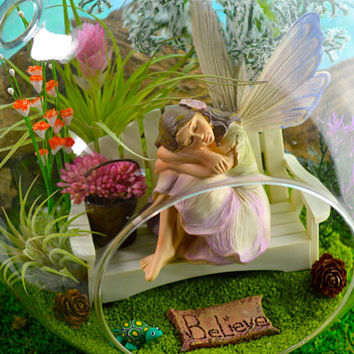 "Fairy Garden Terrarium Kit ~ 8"" Air Plant Terrarium Kit ~ Beautiful Resting Fairy ~ Fairy Garden Kits ~ Flowers ~ Turtle ~ Gift Idea"