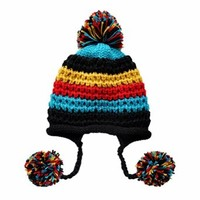 FunShop Women's Stripes Pattern Knitted Hat with Ear Flaps Knitted Beanies for Girls D1117