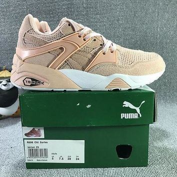 PEAPON3A VAWA Puma Trinomic Blaze Suede Mid-High Casual Shoes Sneaker Light Pink