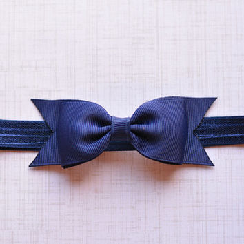 Navy Bow Headband. Navy Baby Headband. Navy Blue Hair Bow Headband. Baby Hair Accessories. Girls Hair Accessories. Dark Blue Bow Headband