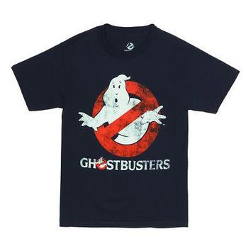 Ghostbusters Ghost Logo To Go Distressed Licensed Adult T-Shirt - Navy